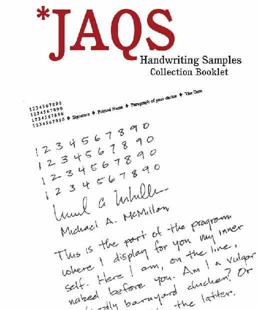 JAQS Sample Booklet, companion for The Hand Behind The Word